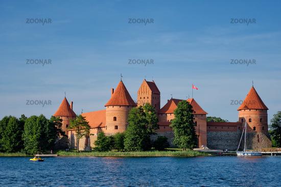 Trakai Island Castle in lake Galve, Lithuania