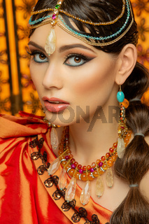beautiful arabic style bride in ethnic clothes