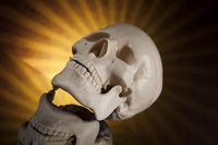 Human skull, black mirror background