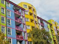 Colorful panel buildings in berlin westend, germany