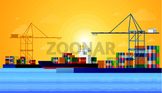 Cargo sea port with cargo freight ships and harbour port cranes also city. Vector Flat design