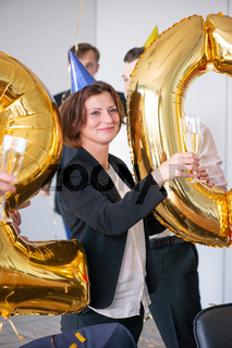 Business people are celebrating New Year 2020