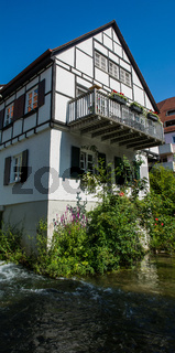 Small German Cottage with Balcony on River in Ulm