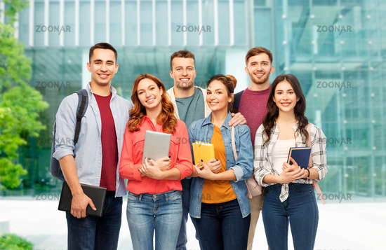 group of students over university background