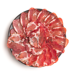 Dried pork meat slices.