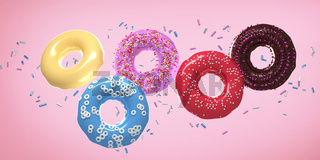 Five flying donuts with multi colored sprinkles on pink background . 3d rendering .