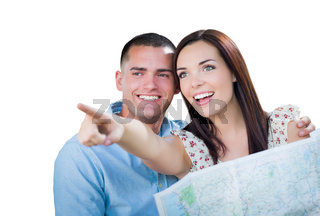 Young Military Couple Looking at Map Isolated on White