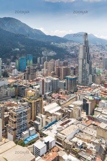 Bogota La Candelaria district aerial view