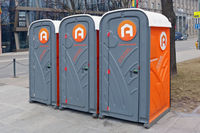 Public plastic toilet cabins on the streets of the spring festival holiday city