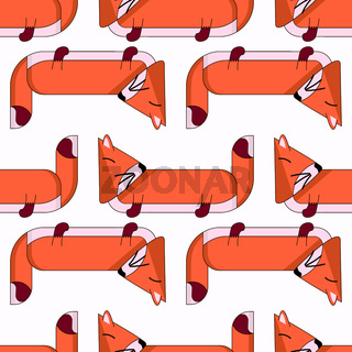Vector seamless pattern with cute cartoon foxes6