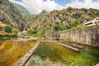 Fortification walls in Old Town in Kotor, Montenegro