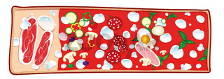 chopping board with Pizza with ingredients. vetcor illustration