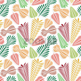 Seamless pattern of multicolored simple leaflets with gray shadow - golden autumn