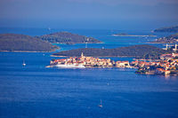 Korcula. Historic town of Korcula in Dalmatia archipelago panoramic view
