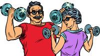 Grandparents do sports, fitness dumbbells