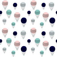 retro air balloons seamless pattern, colorful vector illustration, ready to use design for different surfaces, fabric, home decor, paper, party invitations, covers, etc