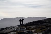 Silhouette of two hikers
