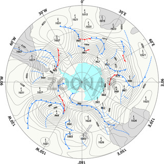imaginary weather map Antarctica with isobars and weather fronts