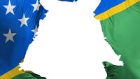 Solomon Islands flag ripped apart