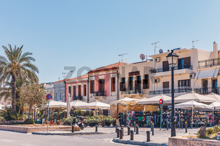 Colourful buildings in the Venetian harbour village of Rethymno on Crete
