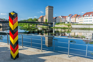 Border bollard at the German border to Poland near the Neisse river in Görlitz