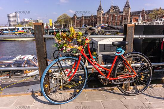 Red bike in Amsterdam