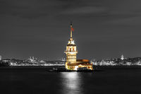 The Maiden's Tower of Istanbul, contrast night colors