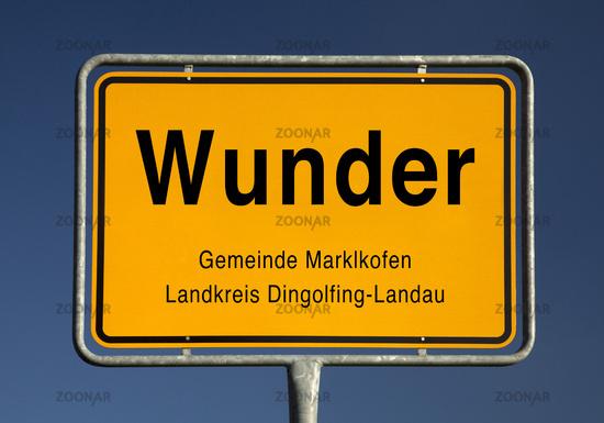 Entry sign, Wunder, municipality of Marklkofen, district of Dingolfing-Landau, Bavaria, Germany