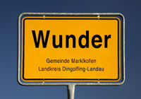 Entry sign, Wunder, municipality of Marklkofen, district of Dingolfing-Landau, Bavaria, Germany