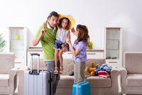 Happy family planning vacation trip