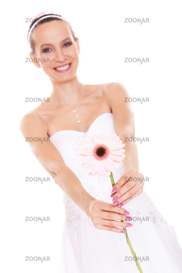Happy bride white wedding dress with flower
