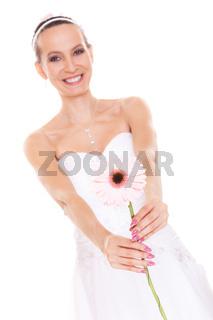 Happy bride white wedding dress with flower