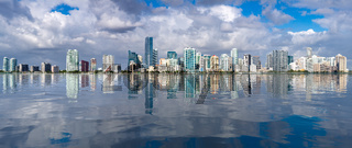 View of Miami Skyline with artificial reflection