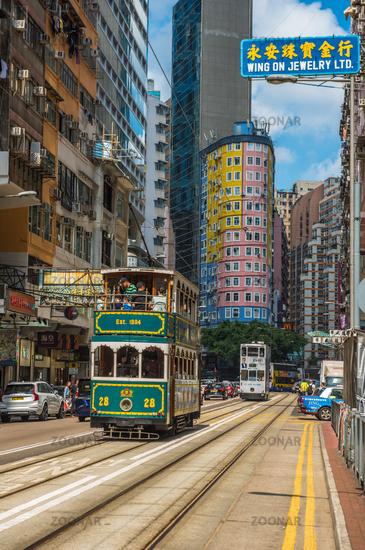 HONG KONG - April, 29, 2018: Double-decker tram in Wan Chai district of Hong Kong.