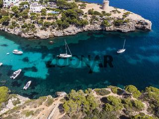 Aerial view, Cala Pi bay, beach and rocky coast, Torre de Cala Pi, Llucmajor municipality, Mallorca,