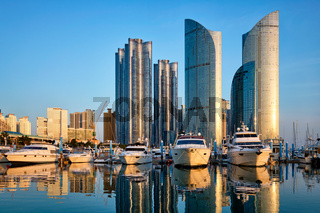 Busan marina with yachts on sunset, South Korea