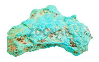 rough Turquoise stone isolated on white