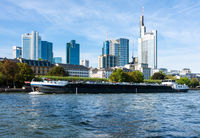 Barge on the Main river in Frankfurt