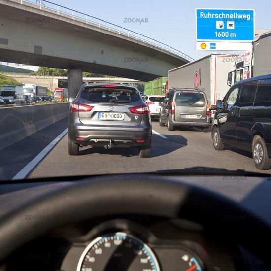 traffic jam on Ruhrschnellweg highway A 40, Bochum, North Rhine-Westphalia, Germany, Europe