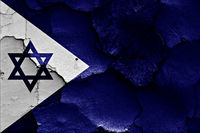 flag of Israeli Navy painted on cracked wall