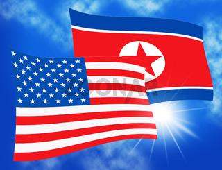 North Korea And American Flag 3d Illustration