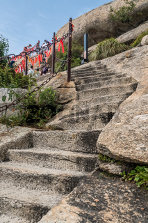 Stone stairs to the summit of West Peak in Huashan mountain