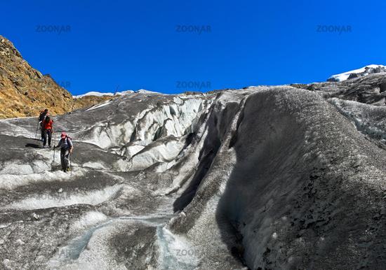 Crevasses on the Gorner Glacier, Zermatt, Valais, Switzerland