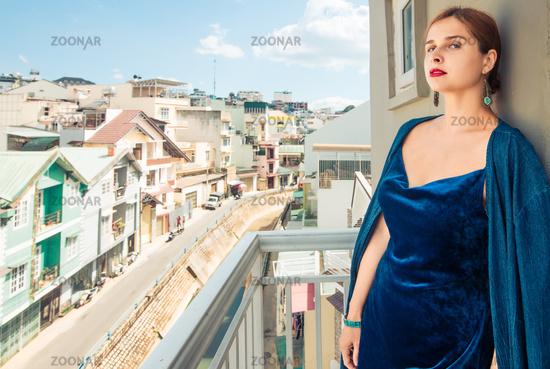 Beautiful woman on a balcony, Dalat