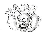 Human Vaper Skull Vaping Puffing Smoke Tattoo Drawing