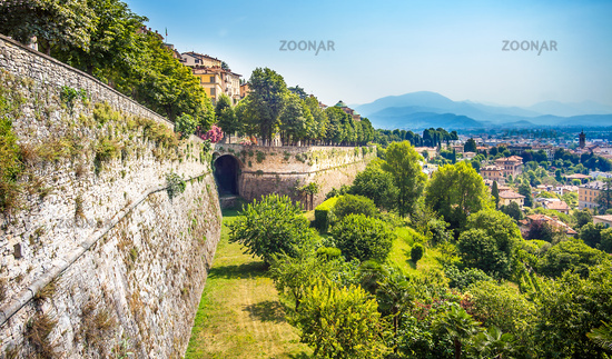 City wall of the old town of Bergamo Lomardei Italy