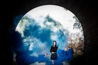 girl with blue dark smoke