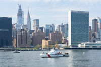 U.S. Coast Guard Boat in front of UN headquarters, NYC