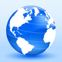 Detailed world globe in three dimensions. Blue and white.