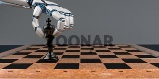 Roboter Hand Schach Koenig Dunkler Hintergrund.jpg